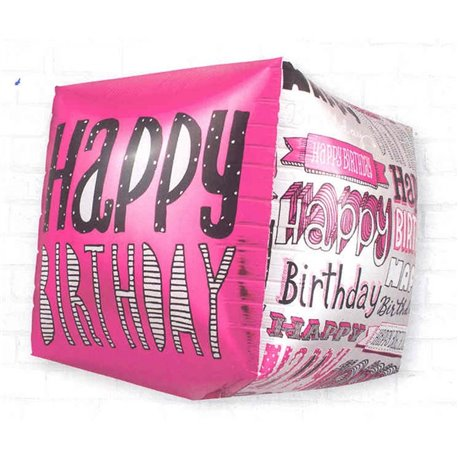 Balon Folie Cubez 3D Happy Birthday, 45 cm, 01040