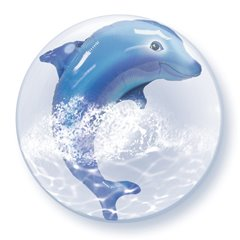"Jumping Dolphin Double Bubble Balloon - 24""/61cm, Qualatex 84127, 1 piece"
