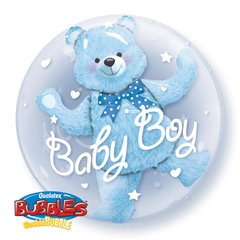 "Baby Blue Bear Double Bubble Balloon - 24""/61cm, Qualatex 29486, 1 piece"