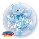 "Baby Blue Bear Double Bubble Balloon - 24""/61cm, Qualatex 29486, 1 piece"