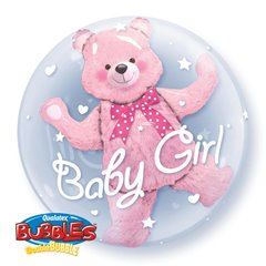 "Baby Pink Bear Double Bubble Balloon - 24""/61cm, Qualatex 29488, 1 piece"