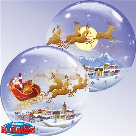"Santa in Sleigh Christmas Bubble Balloon - 22""/56cm, Qualatex 26979, 1 piece"