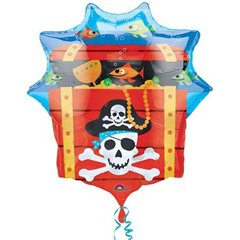 Pirate Treasure Chest Supershape Foil Balloon, Amscan, 63 x 71 cm, 10997