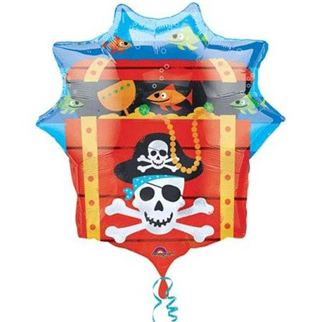 Pirate Treasure Chest Supershape Foil Balloon, Amscan, 63 x 71 cm, 10997