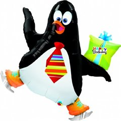 """Happy Birthday"" Skating Penguin Gift 41"" Balloon Mylar, Qualatex, 104 cm, 31019"