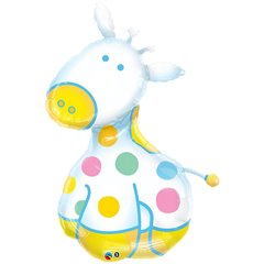 New Baby Boy Soft Giraffe Supershape Foil Balloon, Qualatex, 122 cm, 29685