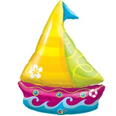 Tropical Sailboat Supershape Foil Balloon, Qualatex, 102 cm, 35368