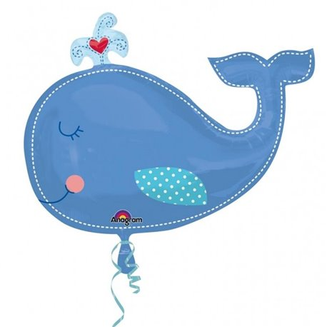 Ahoy Baby Boy Whale Supershape Foil Balloon, Amscan, 86x61 cm, 24576