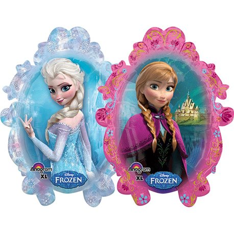 Frozen Ice Princess Anna Elsa Super Shape Jumbo Metallic Foil Balloon, Amscan, 63x78 cm, 28162
