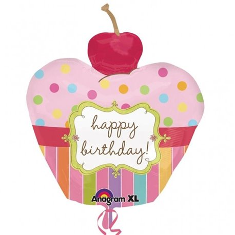 Cherry Birthday Cupcake SuperShape Foil Balloon, 56x61 cm, Amscan, 24474