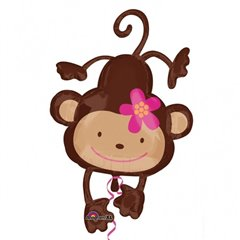 Monkey Love SuperShape Foil Balloon XL, 66cmx102cm, Amscan, 24479