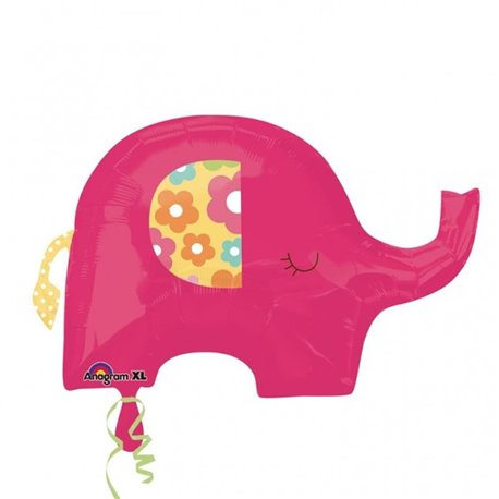Pink Elephant SuperShape Foil Balloon, Amscan, 24580