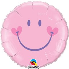 Pale Pink Smiley Face Balloon, Qualatex, 45 cm, 99573