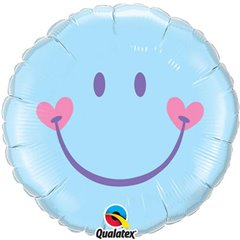 Sweet Smile Face Pale Blue Foil Balloon, Qualatex, 45 cm, 99576