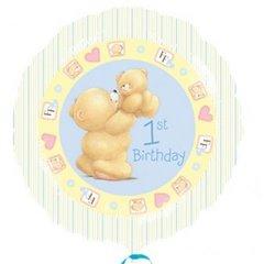 Balon folie 45cm 1st Birthday bleu, Amscan 21496