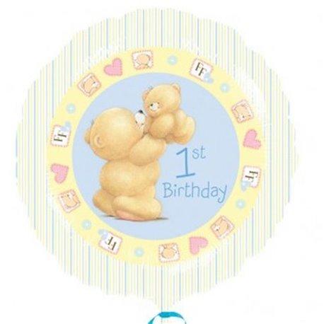 "1st Birthday Forever Friends Foil Balloon Blue, Amscan, 18"", 21496"