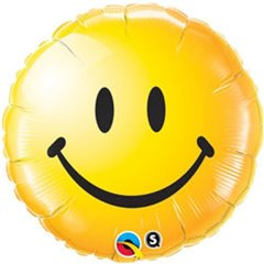Balon Folie 45 cm Smiley Face Galben, Qualatex 29632