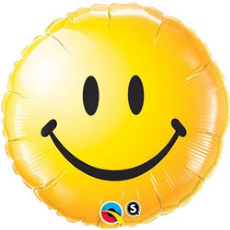 Smiley Face Yellow Foil Balloon, Qualatex, 45 cm, 29632