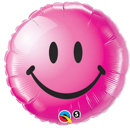 Foil Balloon Round Red Smiley Face, Qualatex, 45 cm, 29864