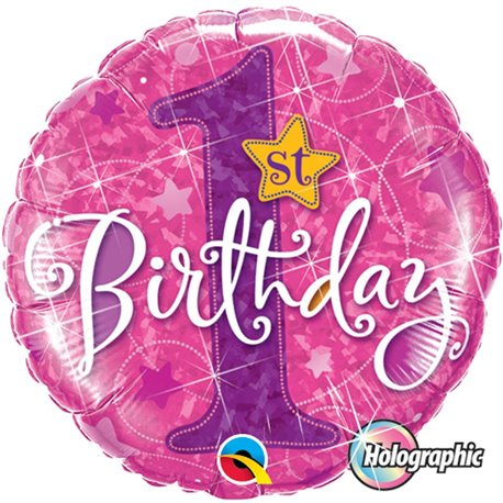 Balon Folie 45 cm 1st Birthday Stars Pink Holographic, Qualatex 41597