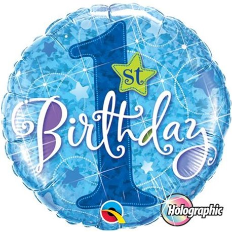 Balon Folie 45 cm 1st Birthday Stars Blue Holographic, Qualatex 41592