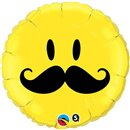 Smiley Face Mustache Round Mylar Foil Balloon Birthday Party, Qualatex, 45 cm, 60053