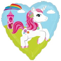 Heart Foil Balloon Unicorn and Castle, 45 cm, 29493