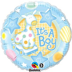 Balon Mini Folie It's a Boy 23 cm+ bat si rozeta, Qualatex 32947