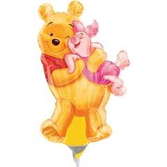 Balon mini figurina 23cm Big Pooh Hug, umflat  + bat si rozeta, Amscan 08334