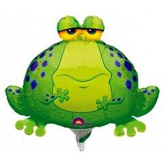 Balon mini figurina Big Bullfrog, umflat + bat si rozeta, Amscan 0593902