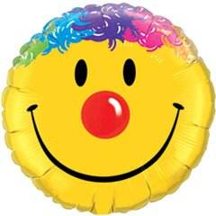 Balon Mini Folie Smile Face, 23 cm, umflat + bat si rozeta, Qualatex 25925