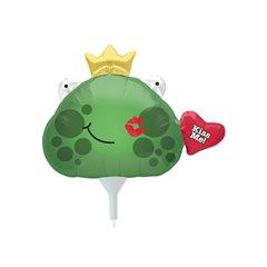 Balon folie mini figurina cap broasca Kiss me - 23cm, umflat + bat si rozeta, Northstar Balloons 00624