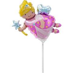 Balon mini figurina bunica zana - 36cm, umflat + bat si rozeta, Northstar Balloons 00704