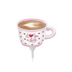 Balon mini figurina ceasca cafea I Love Latte - 36cm + bat si rozeta, Northstar Balloons 00623