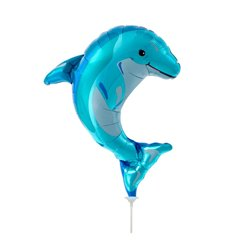"Blue Dolphin Mini Foil Balloon, Northstar Balloons, 14"", 00607"