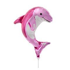 Balon mini figurina delfin roz - 36cm, umflat + bat si rozeta, Northstar Balloons 00600