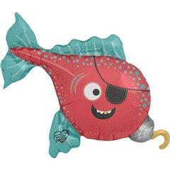 Balon mini figurina pestisor pirat - 36cm, umflat + bat si rozeta, Northstar Balloons 00638