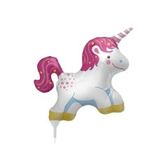 Balon folie mini figurina unicorn - 36cm, umflat + bat si rozeta, Northstar Balloons 00706