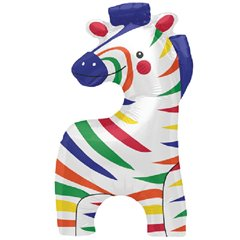 Balon folie mini figurina zebra - 36cm, umflat + bat si rozeta, Northstar Balloons 00606