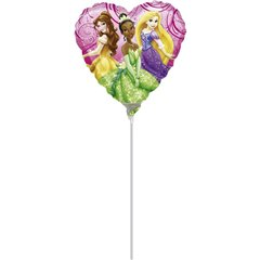 Balon mini folie Disney Princess - 23cm, umflat + bat cu rozeta, Amscan 26401