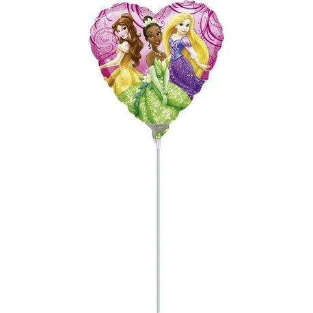 "Princess Garden Heart Mini Foil Balloons on Sticks, Amscan, 9"", 26401"