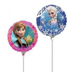 Balon mini folie printese Frozen - 23cm, umflat + bat si rozeta, Amscan 28161