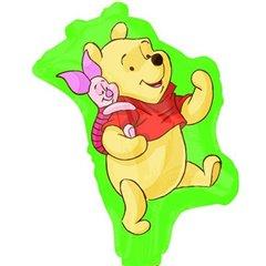 Balon mini figurina Winnie the Pooh - 23cm, umflat + bat cu rozeta, Amscan 22958