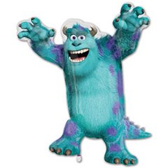 Balon mini figurina Monsters University Sulley - 23cm, umflat  + bat cu rozeta, Amscan 26333