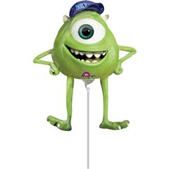 Balon mini figurina Monsters University Mike -  23cm, umflat  + bat cu rozeta, Amscan 26334