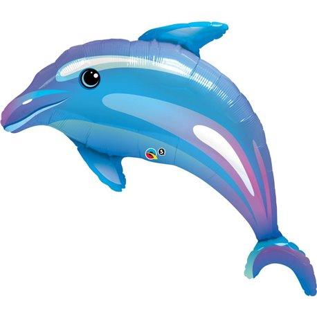 "Delightful Blue Dolphin Foil Balloon, Qualatex , 42"", 32938"