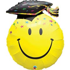 Balon Folie Minifigurina Smiley Face Absolvire, umflat  + bat si rozeta, Qualatex, 35 cm, 99855
