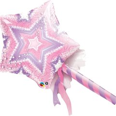 "Pink & Purple Magic Wand Mini Foil Balloons, Qualatex, 14"", 41925"