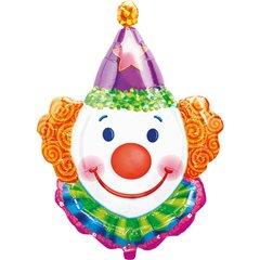Balon mini figurina cap clovn, umflat  + bat si rozeta, Amscan 0766302