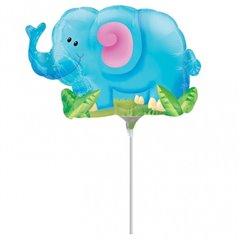 Balon mini folie figurina Elefant 23cm, umflat + bat si rozeta, Amscan 14312